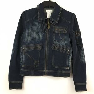 Baby Phat Womens Size Small Denim Jacket Cropped
